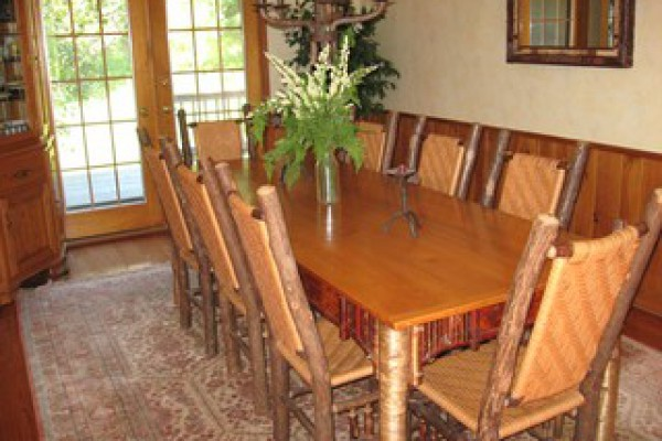 dining room with Adirondacks furniture