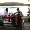 Katie & Sylvia playing backgammon (Sylvia's losing!)