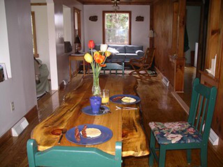 Enjoying breakfast in the cabin
