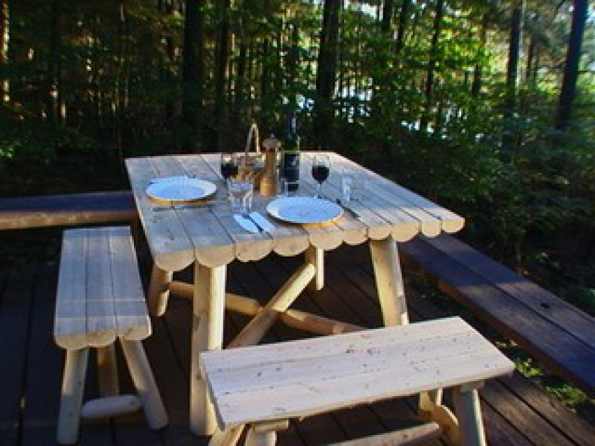 Cedar Picnic Table Set Up for A Romantic Meal