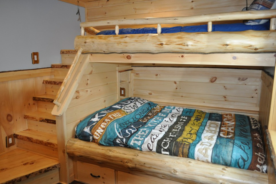 Full bed with twin bunk with lake views