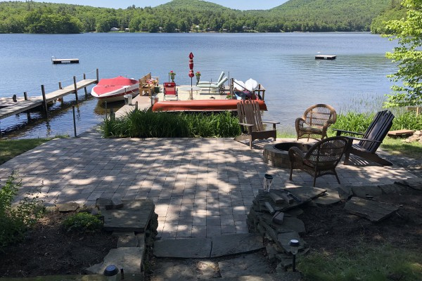 The patio and the dock