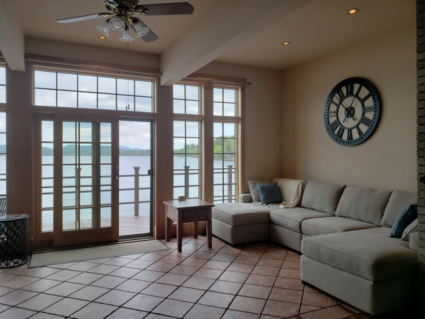 Family room area with expansive views of the lake