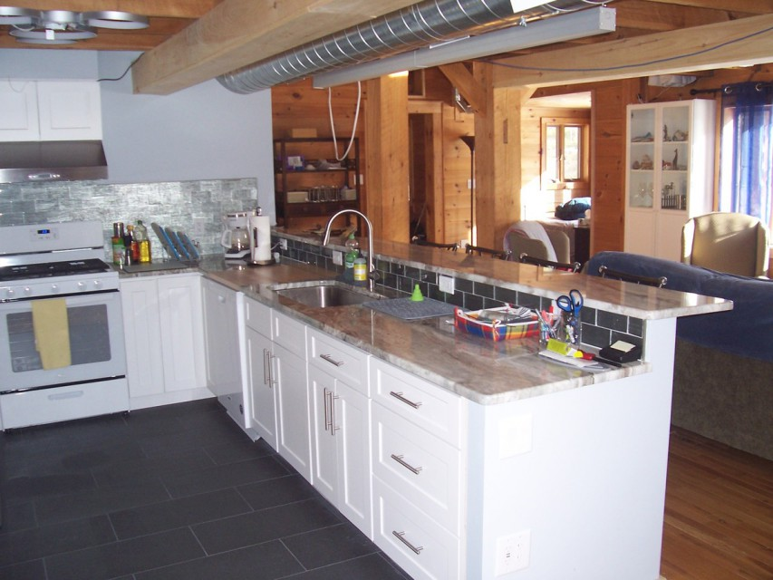 Another view of our kitchen, with heated floors...