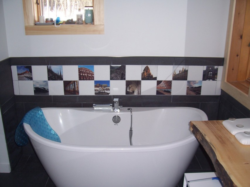 Our half moon tub and beautiful tiling...