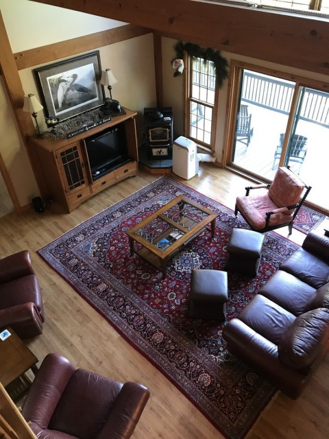 Living room viewed from loft
