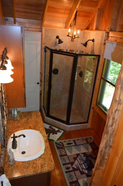 Master bathroom with double head shower
