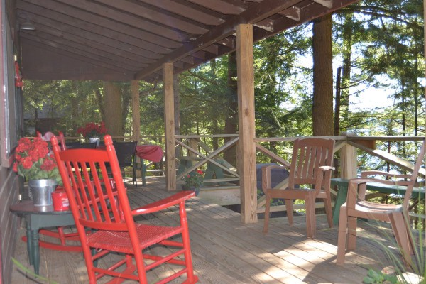 Covered Porch in Loon Lodge w/View of Lake