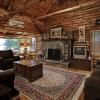 Family Room with wood burning fireplace and ADK decor