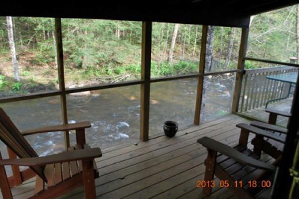 Screen porch of main cabin