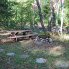 Fire pit at guest cabin