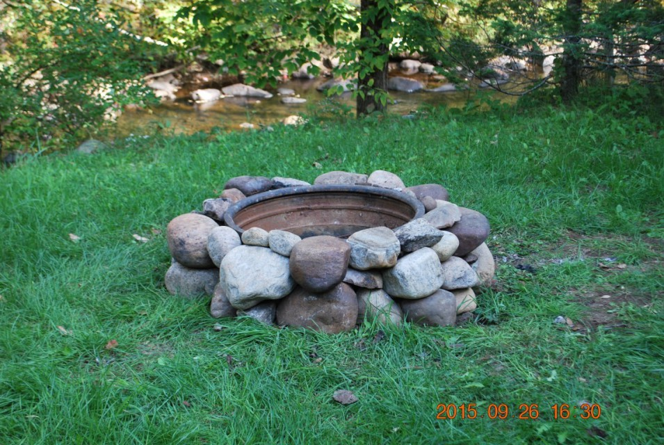 Fire pit at main cabin