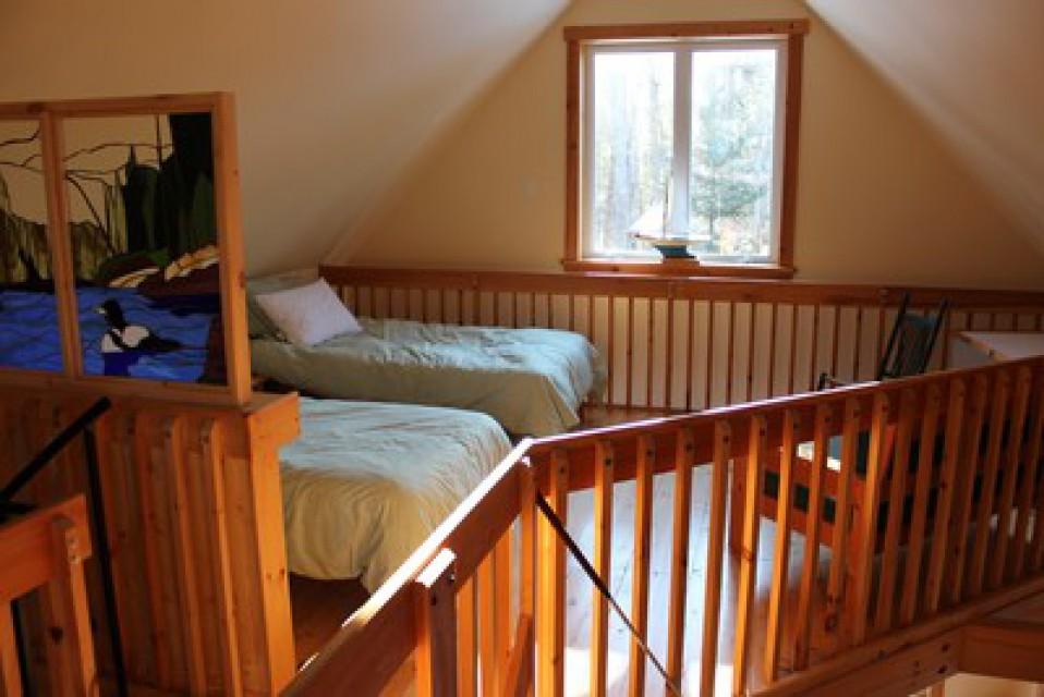 Upstairs loft bedroom, 2 singles + 1 double