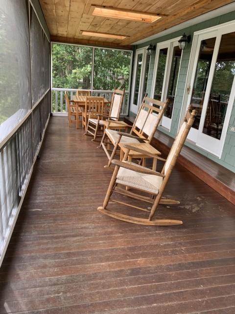 Lakeside porch in main lodge