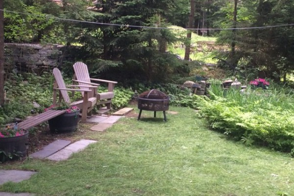2 Adk Chairs facing LG + Firepit + Shyrewood Lawn area.