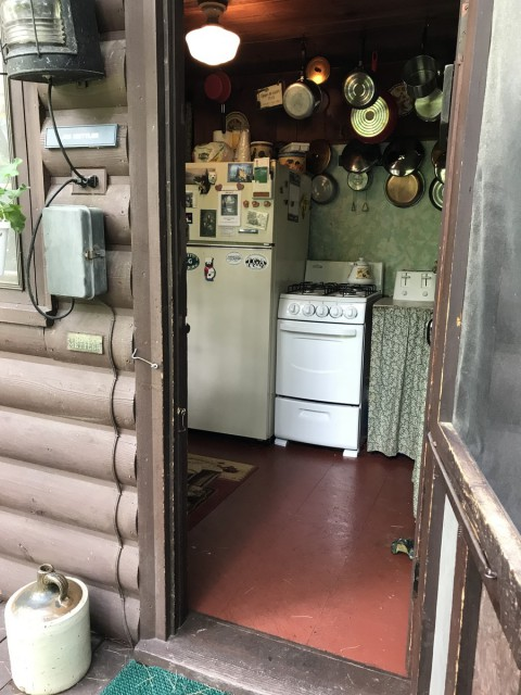 Entrance to Shyrewood Cabin via Kitchen.