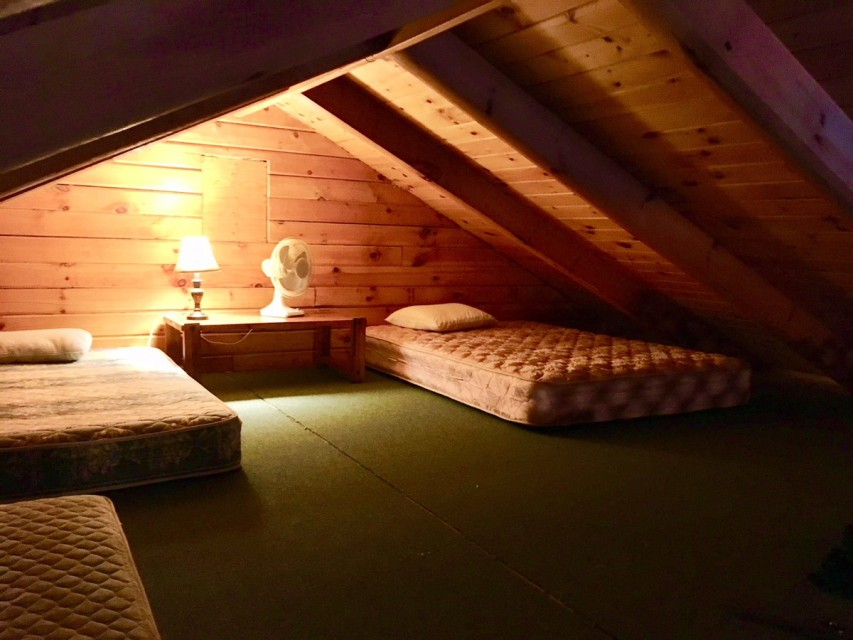 Loft with queen, twin, and double beds