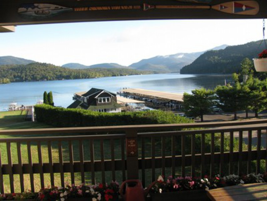 Our balcony and view of Placid Lake.