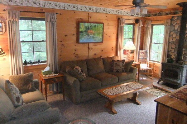 Family Room with Satellite TV, DVD, Woodstove