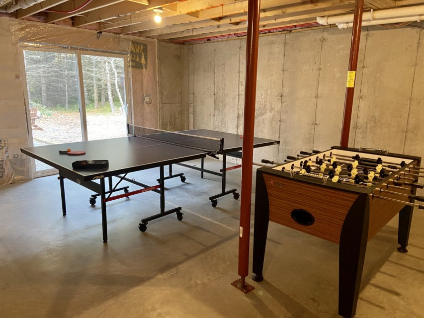 Game room with access to fire pit.
