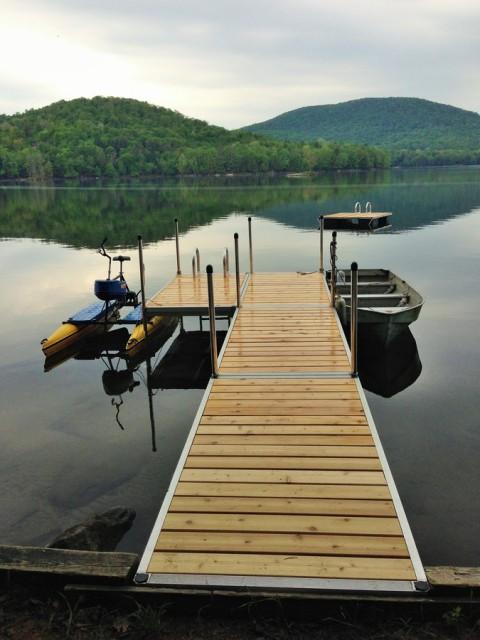Dock, hydrobike, rowboat and swim platform
