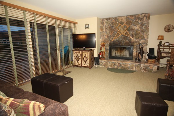 Family Room - wood fire place, views of Lake Placid