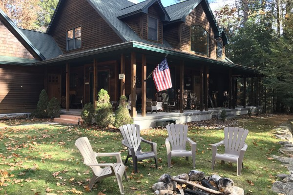 Front yard fire pit & Adirondack chairs
