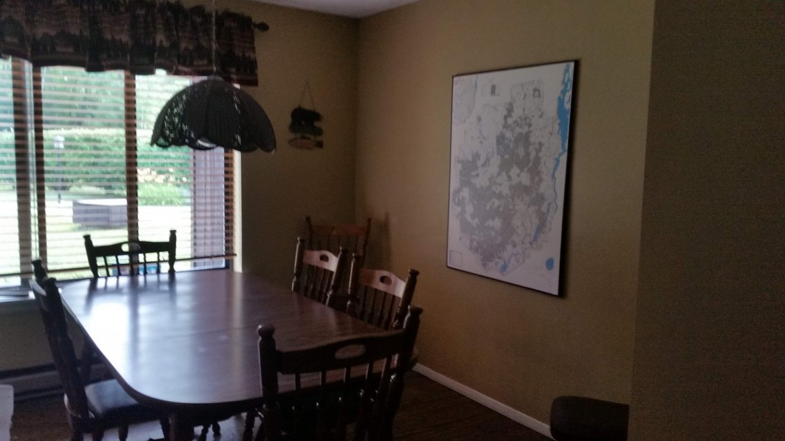 dining room, ADK map for planning next day outings!