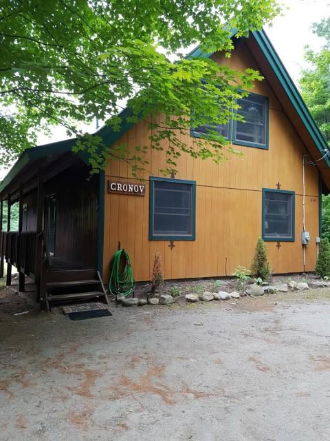 Entrance to Haus Cronov, huge driveway and apron deck