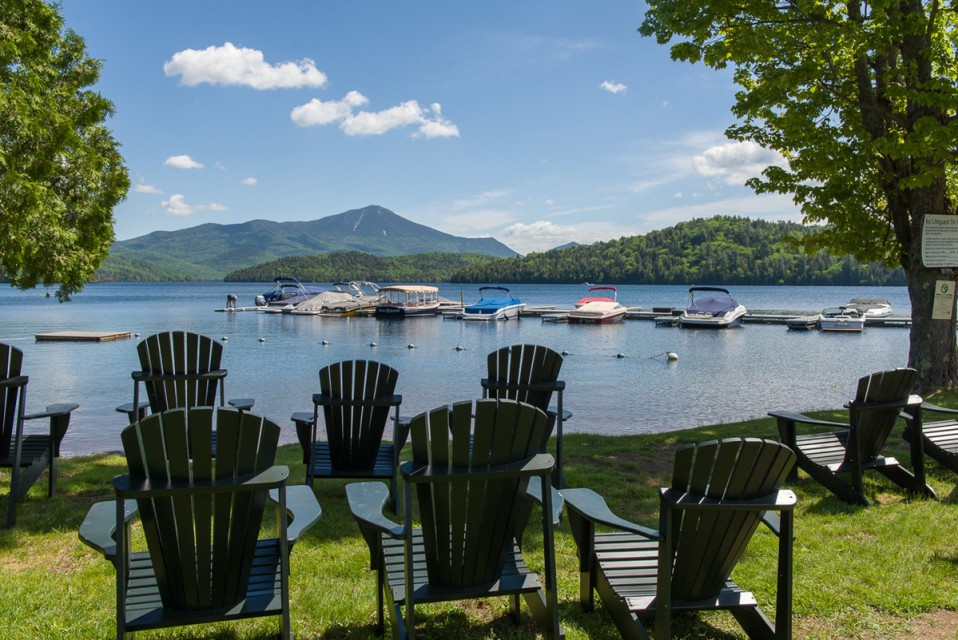 The beach and marina area with ADK chairs!