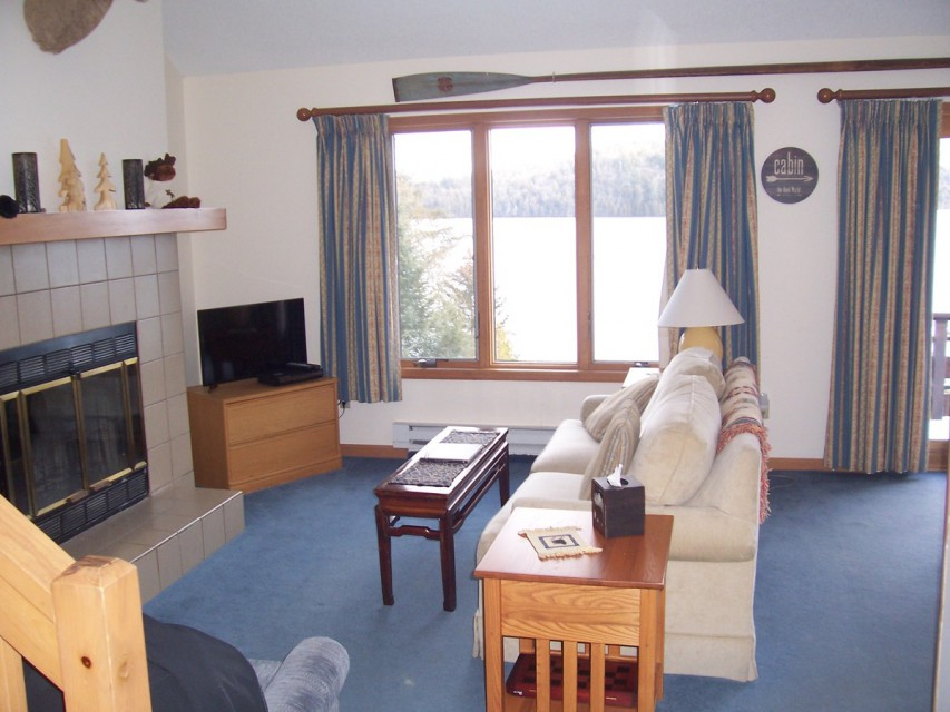 Our living room area, with amazing views of the lake...