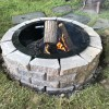 Lakeside fire pit on lawn