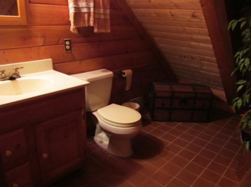 Bathroom on loft level. Stand up shower.
