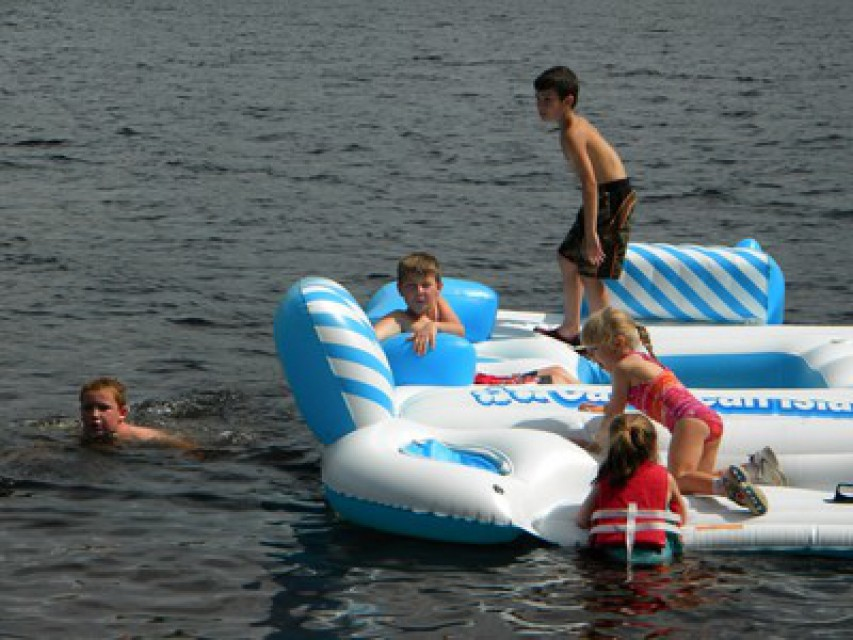 Kids having fun with a float