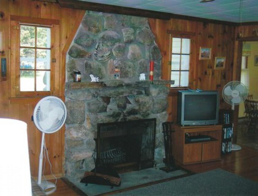 Working wood burning fireplace