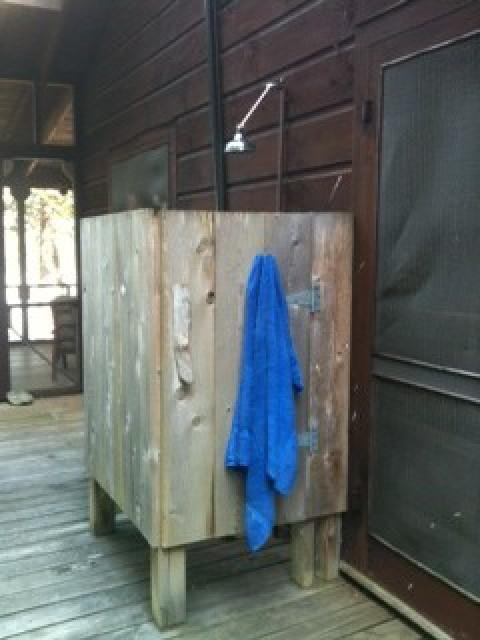 Outdoor shower on back deck
