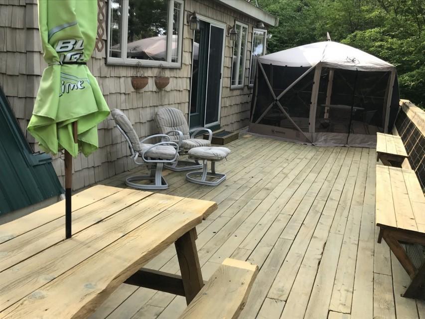 Wrap-around 750 sq.' spacious & gated deck