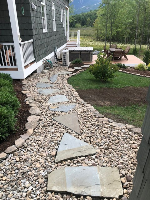 Path from the studio to the hot tub and deck