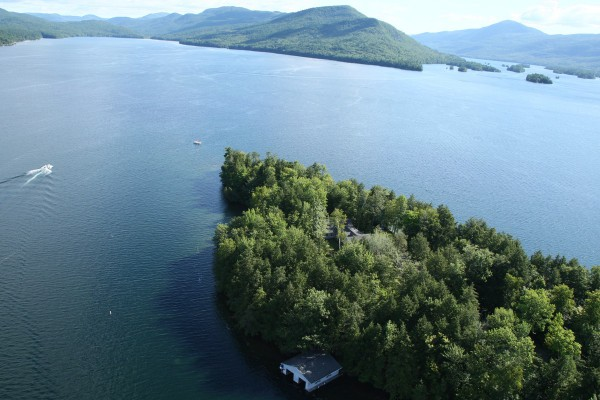 Boat house and aerial view of property