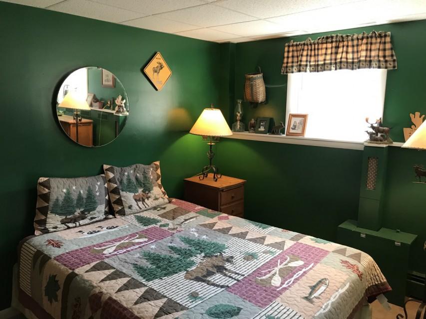 Moose room! lower level; Queen bed ceramic tile floor