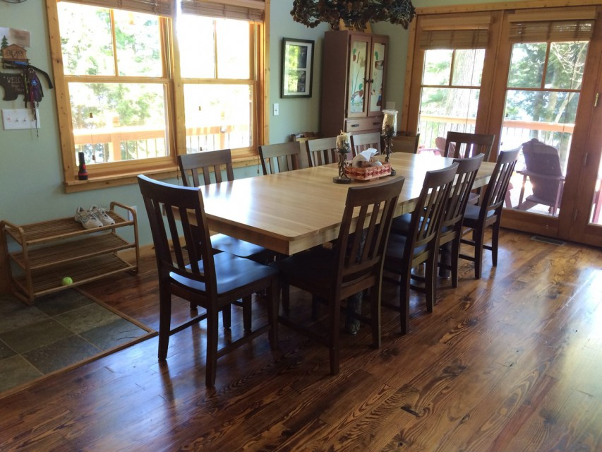 Dining area table and chairs.