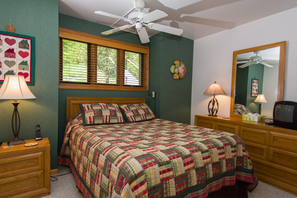 The master bedroom, with a queen bed!
