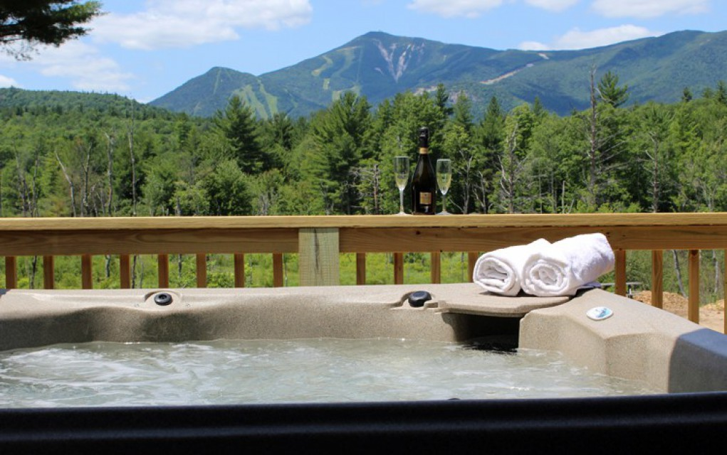 Take a hot tub and gaze at Whiteface Mt.