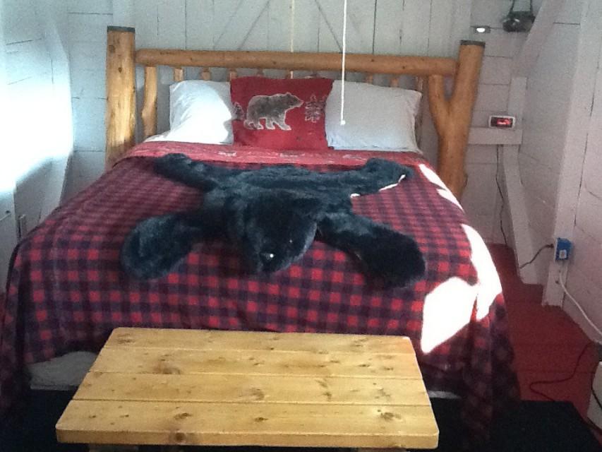 Queen bed in cabin camping cabin