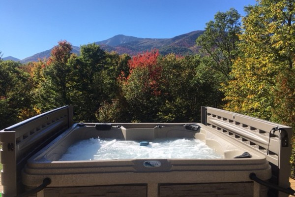 Take in the amazing Fall colors from the hot tub!