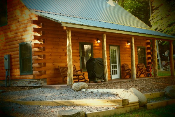 Cabin and Porch overlooking Falls.