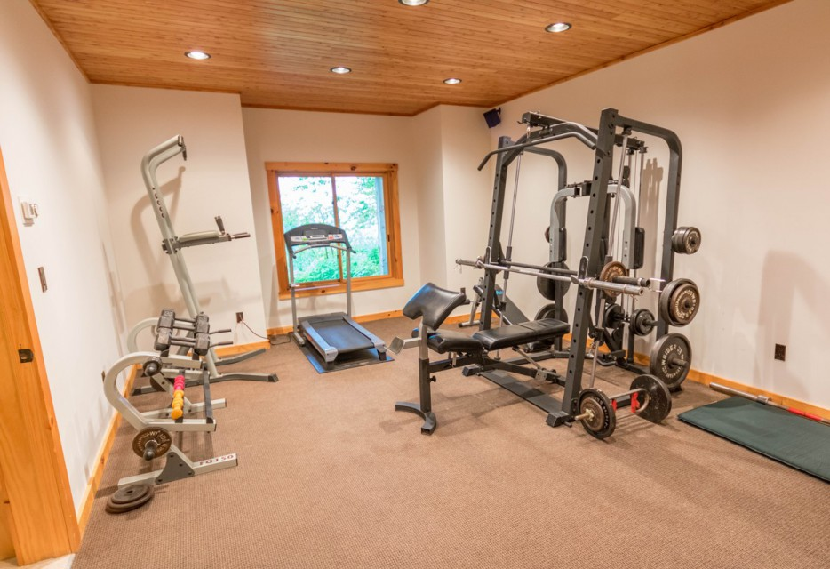 Fitness room on lower level
