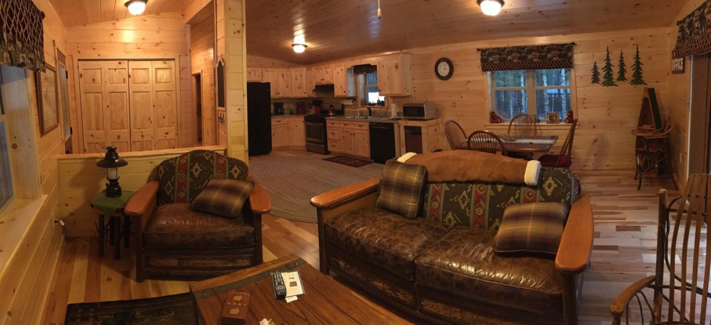 A panoramic view of our living room area!