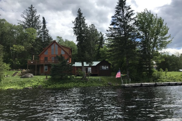 Cabin, lower camp, view from lake